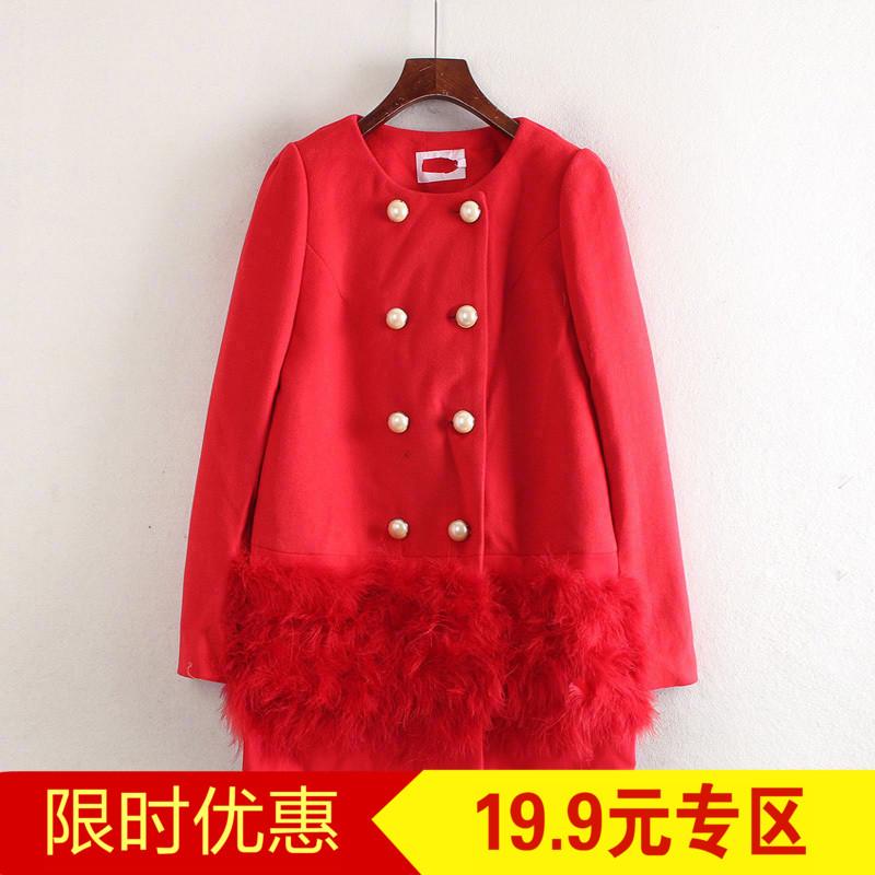 Loạt màu đỏ của phụ nữ quầy cắt nhãn 2017 mùa thu và mùa đông khuyến mãi Hàn Quốc phiên bản của lỏng quanh cổ khâu áo len C5452