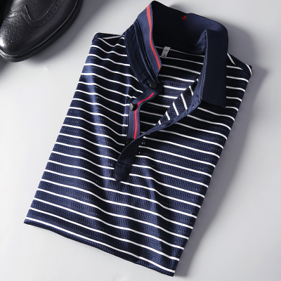 Mùa hè vội vã net lỗ rỗng đôi lụa ánh sáng biển linh hồn sọc chì t-shirt nam polo Polo áo kinh doanh ve áo ngắn tay áo áo sơ mi polo Polo