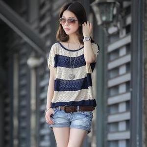 2017夏季新款宽松短袖针织网衫镂空罩衫大码蝙蝠袖针织衫品牌女装