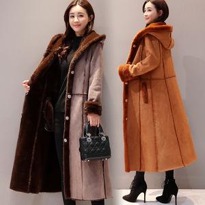 Áo khoác trùm đầu 2017 mùa đông mới của phụ nữ đơn ngực phần dài cộng với nhung dày lông một chiếc áo khoác để giữ ấm