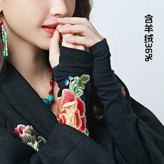 6999新款女装民族风绣花含羊绒长款带袖半指护腕手套