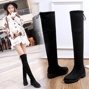 2017 mùa đông mới Châu Âu và Mỹ khởi động chân mỏng stretch boots gót thấp với khởi động đầu gối ống cao cộng với nhung của phụ nữ khởi động