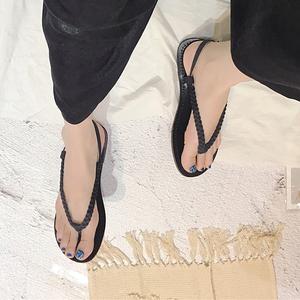 2018新款夏季韓版平底夾趾一字扣涼鞋女休閑復古涼鞋189-16