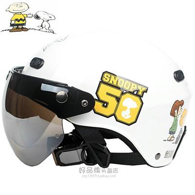 台湾华泰史努比04白电动哈雷摩托车头盔安全帽男女防紫外线四夏季
