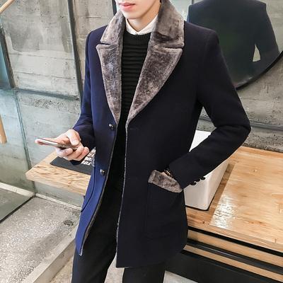 Đặc biệt hàng ngày trong phần dài của ve áo len áo khoác nam mới dày lên lông tơ một để giữ ấm triều trench coat Áo len