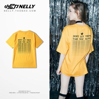 Ulzzang retro thư màu vàng in quá khổ đường viền cổ áo cotton lỏng sinh viên ngắn tay áo t-shirt nam giới và phụ nữ áo thun polo nam Áo phông ngắn