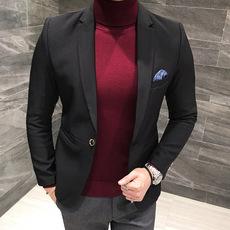 2017秋冬新款休闲纯色西服男礼服韩版修身小西装伴郎外套青年单西