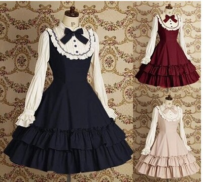 taobao agent European lolita dress fake girl dress female lace men's cd cross dress long-sleeved women's gangster reverse string dress