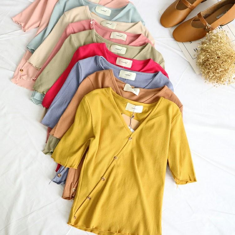 L4-2 Ba mảnh mùa hè ăn mặc mới V-Cổ ngắn tay nút chéo trang trí Mỏng hoang dã áo len 42223