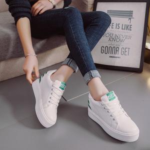 2017年春季新款女鞋内增高休闲乐福鞋 系带坡跟小白鞋女单鞋
