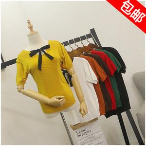 Mùa hè mới mỏng phần mỏng đàn hồi cao ngắn tay áo thun áo len nữ 27305
