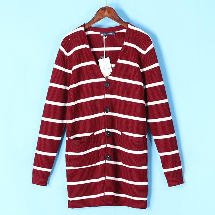 Của nam giới Jie loạt mới mùa đông V-Cổ sọc đan cardigan người đàn ông giản dị của áo len 1004