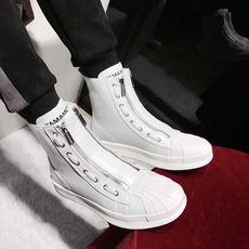 2018新品时尚走秀款发型师夜店潮男高帮鞋休闲百搭双拉链马丁靴