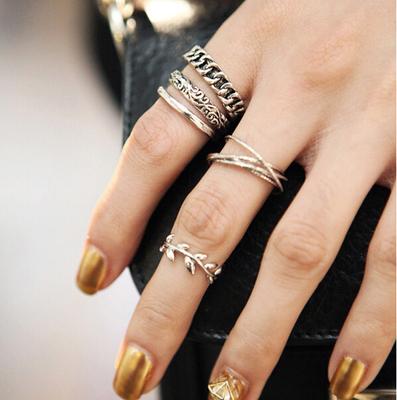 网红女日时尚个性气质潮人多圈圈欧美套装夸张食指关节戒指环