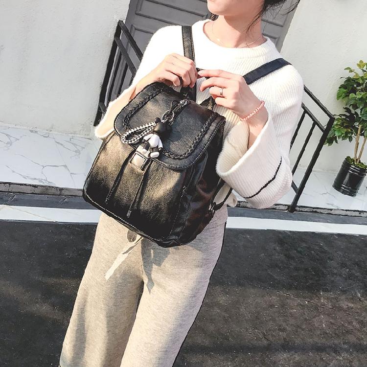 双肩女包2017新款背包女士宝妈包韩版潮时尚个性百搭PU皮休闲简约