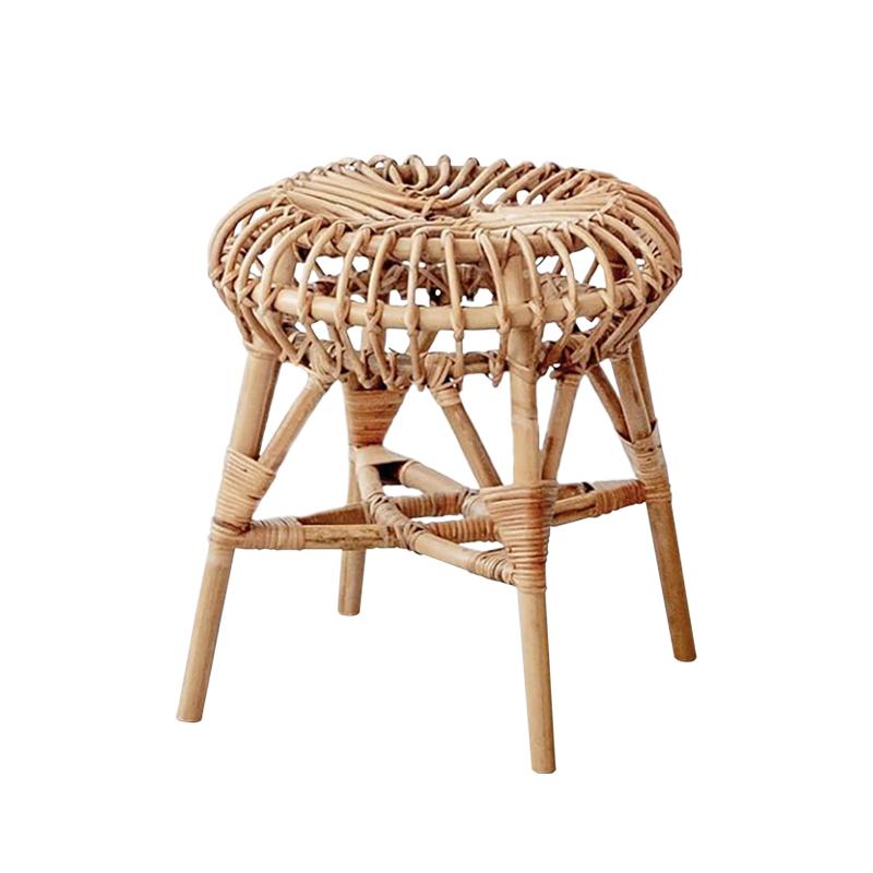 久伴INS北欧藤编凳餐厅客厅民宿咖啡馆茶几凳子换鞋凳餐桌椅凳子_图5