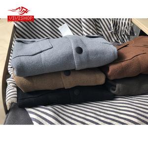 2018 mùa xuân mới nam cardigan nút phiên bản màu rắn áo len mỏng stretch áo len túi stereo Nhật Bản và Hàn Quốc gió