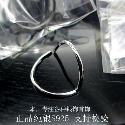 s925纯银戒指女小清新几何简约尾戒潮人食指环 欧美夸张开口戒指