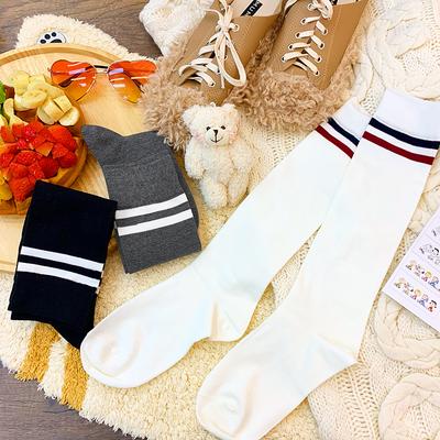 色条纹袜子小腿袜日系可爱ins潮秋冬季长袜女长筒袜街头纯棉
