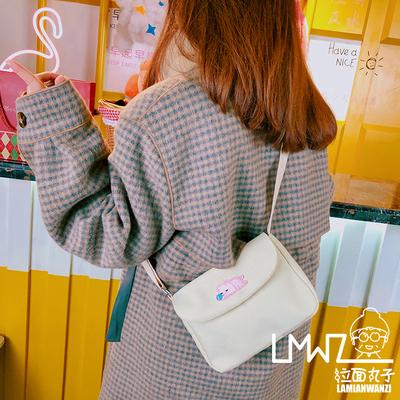 日系百搭学生斜挎包女小包包网红小猪新款简约帆布包可爱丑萌