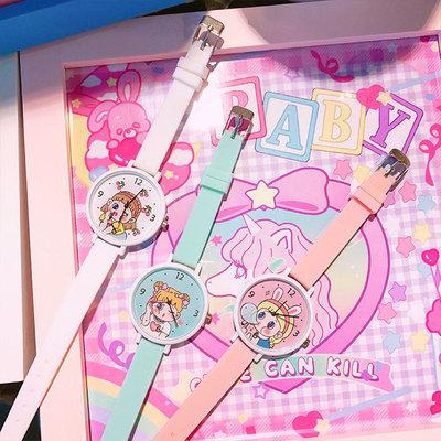 甜美可爱少女腕表粉嫩简约软妹学生创意卡通指针式手表女防水