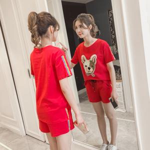 7192实拍休闲运动服套装女夏2018新款韩版宽松短袖上衣短裤两件套