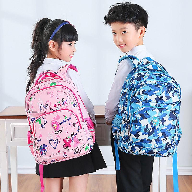 瑞牌书包小学生女防泼水 1-3-6年级书包儿童3-12周岁护脊双肩背包