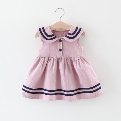女童宝宝裙子夏季婴幼儿童海军风学院背心裙小童纯棉舒适公主裙