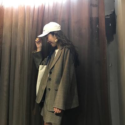 Hợp thời trang đẹp trai kẻ sọc phù hợp với thiết lập Anh chic lưới phù hợp với nữ 2018 mùa xuân Business Suit