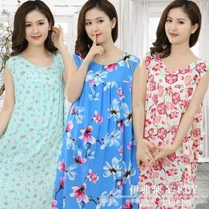 Cotton lụa nightdress trung niên nữ mùa hè cộng với phân bón để tăng cotton silk đồ ngủ loose thai sản váy nhân tạo cotton không tay váy