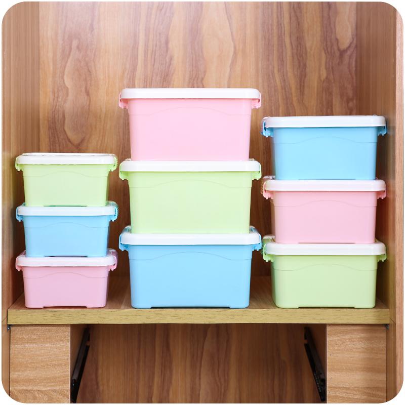 糖果色塑料收纳箱手提有盖储物箱E069学生装书整理箱化妆品收纳盒