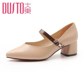 韩版粗跟一字扣单鞋