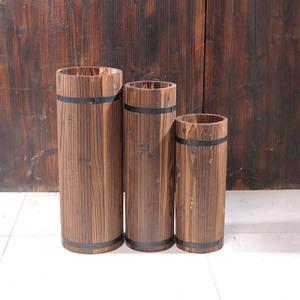 Thùng gỗ chậu hoa bằng gỗ thùng trống thùng bia chống ăn mòn hoa gỗ hộp hoa khung carbonized gỗ chậu hoa hoa bình đồ dùng cắm hoa