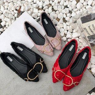夏季新款网红绒面尖头平底鞋