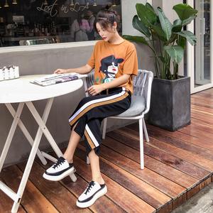 实拍8220#夏季新款T恤阔腿裤两件套时尚休闲运动套装