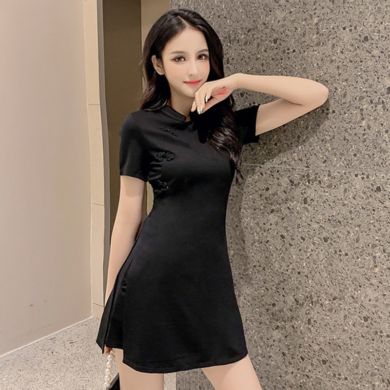 2020 new fashionable goddess fan small black skirt foreign style high waist two-piece suit improved cheongsam retro dress