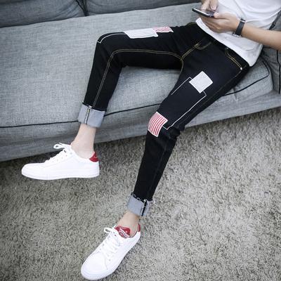夏季黑色弹力九分牛仔裤男士修身薄款小脚裤潮男装9分男裤子