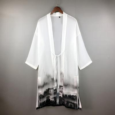 Trung quốc phong cách mùa hè Phật Giáo nam áo gió áo khoác mỏng over the knee phần dài bông cloak Hanfu kem chống nắng cloak nam kimono Áo gió