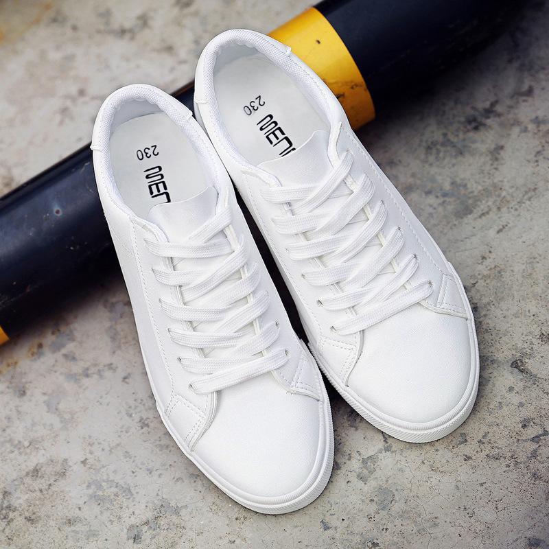 2018春季韩版新款系带小白鞋平底皮面帆布鞋白色休闲鞋女100