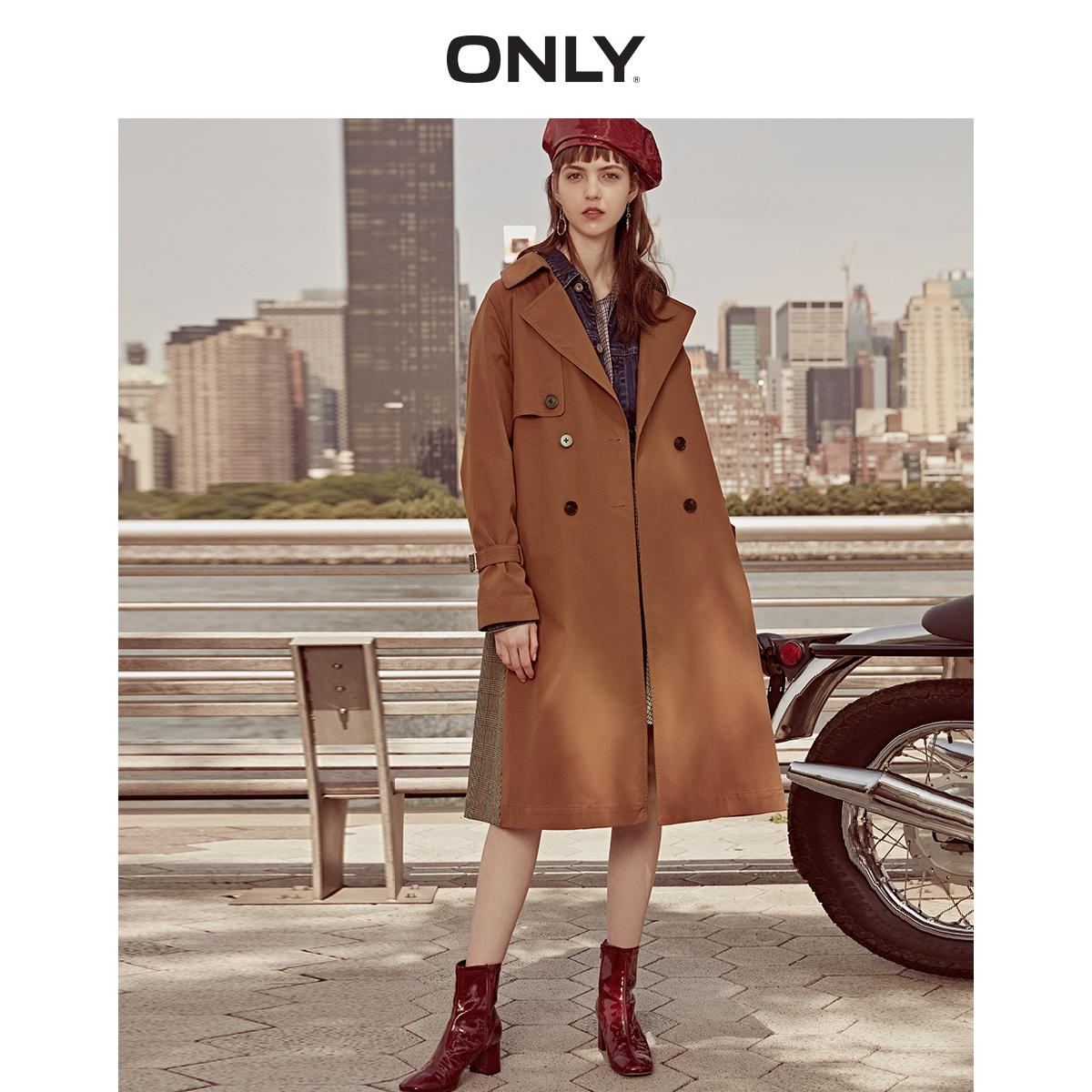 ONLY 格纹拼接 女式中长款风衣 118336546 双重优惠折后¥194包邮