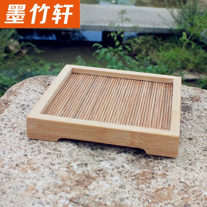 茶道餐饮器具零配 功夫茶套装 竹制方形茶水杯垫碗垫茶托碗拖