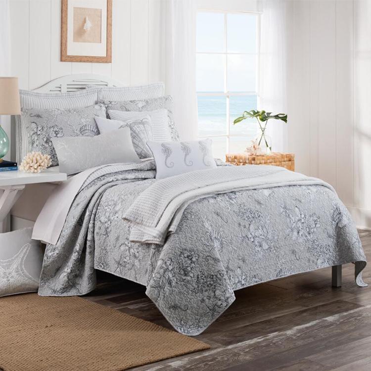 北欧纯棉床盖三件套夏季空调被外贸出口全棉水洗绗缝床
