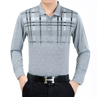 Mùa xuân trung niên nam dài tay t-shirt cha ve áo cotton t-shirt người đàn ông trung niên đáy áo sơ mi áo thun ba lỗ nam Áo phông dài