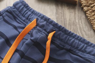男童五分裤纯棉夏季童装儿童运动中裤条纹沙滩裤大童中裤欧美