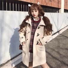 2018新款加厚连帽韩版学院风中长款牛角扣呢子大衣外套