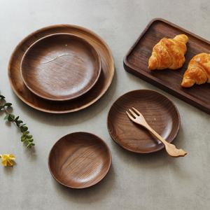 Mu Yi đen óc chó khay gỗ tự nhiên đĩa trái cây khay trà ăn sáng bánh mì khay tròn món ăn tấm gỗ