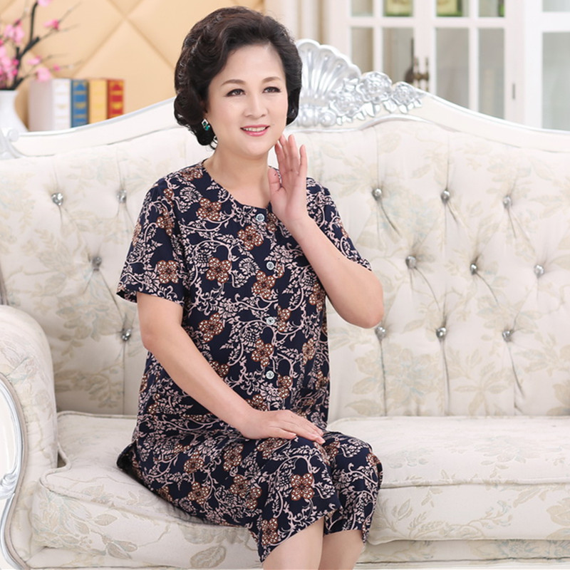 Bà nạp cardigan đồ ngủ mùa hè của phụ nữ ngắn tay áo sơ mi trung niên bông của phụ nữ nhân tạo cotton t-shirt cotton lụa phù hợp với