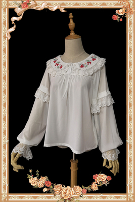 taobao agent 【Infanta. Infanta】LOLITA*Strawberry Bouquet* Long-sleeved embroidered shirt can be worn on both sides in stock