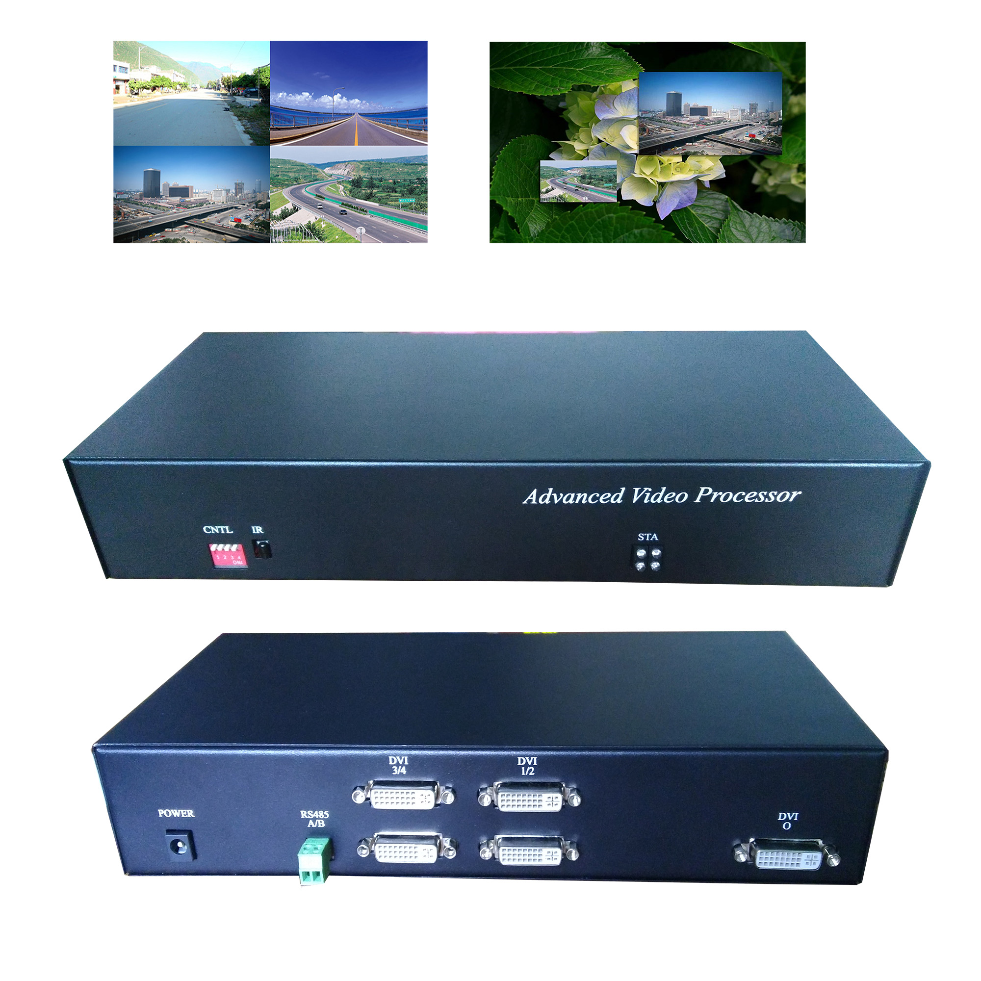 Bright screen splitter VGA HD HDMI four in and out 2 in 1 out 1080P  arbitrary switching synthesis split screen