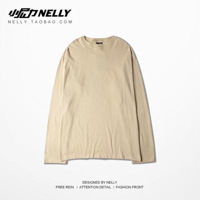 Retro đường phố net đỏ ulzzang trắng tinh khiết trắng dài tay áo cao đường phố retro đáy dài t-shirts cho nam giới và phụ nữ mua áo thun nam Áo phông dài